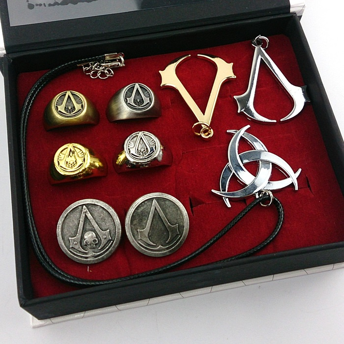 Assassin's Creed necklace+ring+brooch set(9pcs a set ...