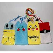 3.2inches Pokemon plush phone bags set(4pcs a set)