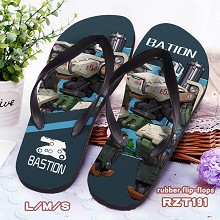 Overwatch Bastion rubber flip-flops shoes slippers a pair