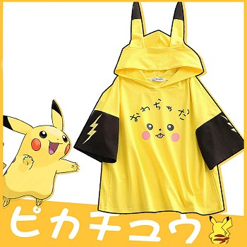 Pokemon pikachu anime short sleeve hoodie t-shirt