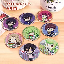 Code Geass anime brooches pins set(8pcs a set)