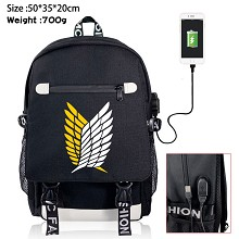 Attack on Titan anime USB charging laptop backpack...