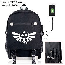 The Legend of Zelda USB charging laptop backpack s...