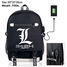 Death Note anime USB charging laptop backpack scho...