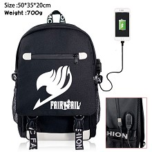 Fairy Tail anime USB charging laptop backpack school bag