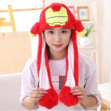 Iron Man Plush Hat Ear Shape Can Move Cap Plush Gi...