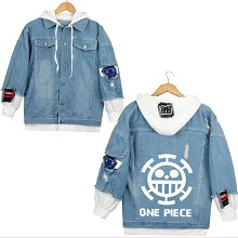 One Piece anime fake two pieces denim jacket hoodi...