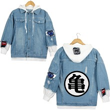Dragon Ball anime fake two pieces denim jacket hoo...
