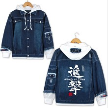 Attack on Titan anime fake two pieces denim jacket...