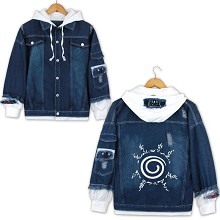 Naruto anime fake two pieces denim jacket hoodie c...