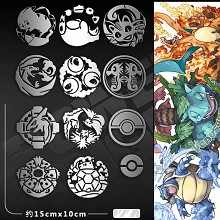 Pokemon anime metal mobile phone stickers set(9pcs...