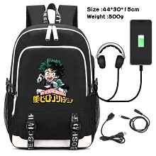 My Hero Academia anime USB charging laptop backpac...