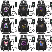 Fortnite USB charging laptop backpack school bag