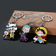 One Piece anime key chain necklace