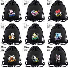 BTS BT21 star drawstring backpack bag