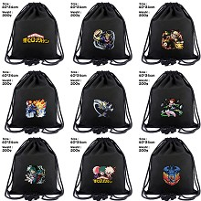 My Hero Academia anime drawstring backpack bag