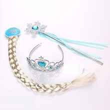 Frozen anime plait+crown+magic wand a set